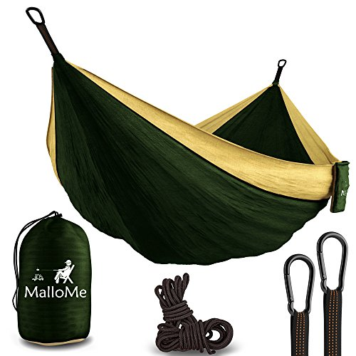 "XL Double Parachute Camping Hammock - Tree Portable with Max 1000 lbs Breaking Capacity - Lightweight Carabiners and Ropes Included For Backpacking, Camping, Hiking, Travel, Beach, Yard, 125"" x 79"" Image"