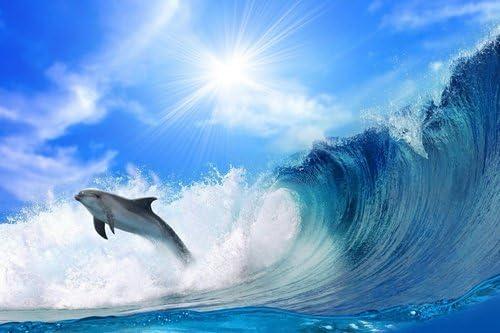 イルカと波動物の写真 キャンバス印刷アートポスター(60cmx90cm)
