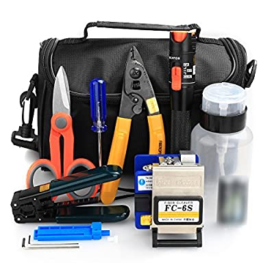 FTTH Fiber Cold Connection Tool Kit 16 in 1 with FC-6S Fiber Cleaver 10mW Aluminum Visual Fault Locator Cable Tester Stripping Tool Kevlar Scissors Equipment