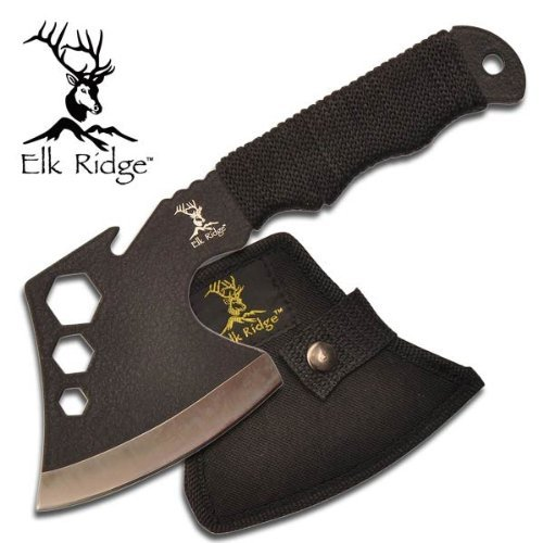 ER-272 Elk Ridge 440 Fuse7dpl9j Stainless Steel Hatchet YxpVTxnnN Axe W/ Sheath ayeuiu56 hlbv23rt Solid one piece WJtSZ 440 stainless steel vyZoGgj rough black paint.Overall Length: 8Black cord wrapped handle.Black Nylon Sheath