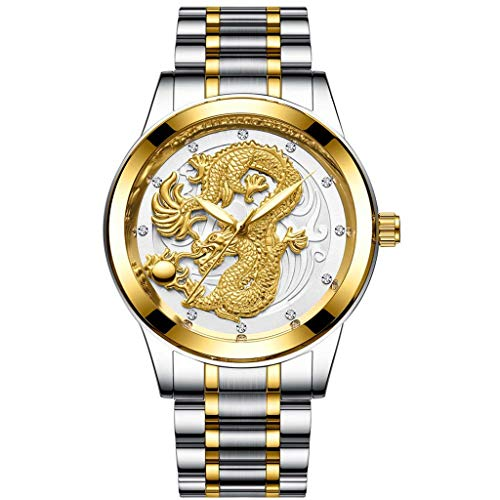 WoCoo Mens Wrist Watches,Luxury Golden Analog Quartz China Dragon Pattern Dial Watch with Stainless Steel Strap Wristwatch(F,CHINA DRAGON)