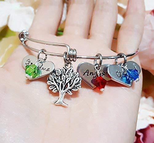 Personalized Tree of Life Bracelet Grandma Bangle Birthstone Initials Names Bangle Family Tree Bangle
