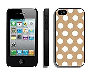 BINGO New year Polka Dot Brown and White iPhone 4 4S Case Black Cover