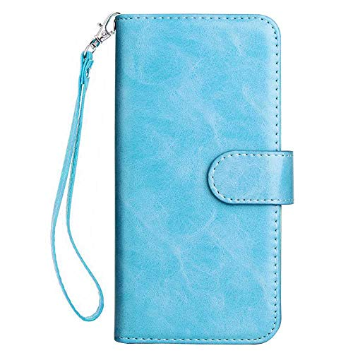 (Huawei P Smart Case, Bear Village Premium PU Leather Stand Wallet Case 9 Card Slots Cover with Magnetic Clasp and Wrist Strap for Huawei P Smart (#4 Blue))
