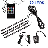 ANSCHE Car LED Strip Light, 4pcs 72 LEDs Multicolor Music Changing Wireless RF Remote Control Under Dash Interior Floor Lights, Decorative Atmosphere Lighting Kits with Sound Sensitive, Included Car Charger