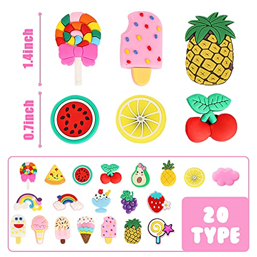 BigOtters 40 PCS Rainbow Fruit Shoe Charms, Wristband Bracelet Charms Shoe Decoration Charms Party Gift Decor for Girls and Boys Slip-ons