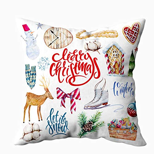 HerysTa 20X20 Christmas Pillow Case, Home Cotton Throw Pillow Case Invisible Zipper Cushion Cases Watercolor Christmas Clipart Sofa Decor (Clipart Basket Christmas)