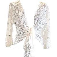 OgLuxe Womens Sparkly Plus Size Sequen Lace Front Tie Evening Bolero Shrug Sizes 10-22