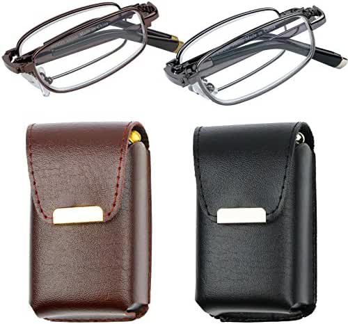 Reading Glasses Set of 2 Fashion Folding Readers with Leather Cases Glasses for Reading for Men and Women