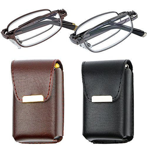 Reading Glasses Set of 2 Fashion Folding Readers with Leather Cases Brown and Gunmetal Glasses for Reading for Men and Women +1.75