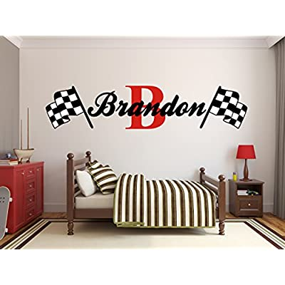 Custom Name Racing Monogram Wall Decal Boys Nursery Room Vinyl Wall Graphics Bedroom Decor (10