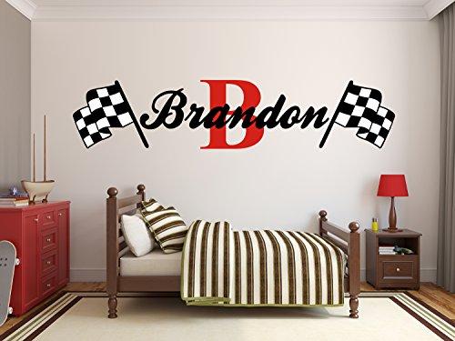 (Custom Name Racing Monogram Wall Decal Boys Nursery Room Vinyl Wall Graphics Bedroom Decor (10