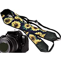Sunflower design camera strap. Yellow blossoms camera strap. Yellow flowers DSLR / SLR Camera Strap. Durable, light weight and well padded camera strap. code 00003