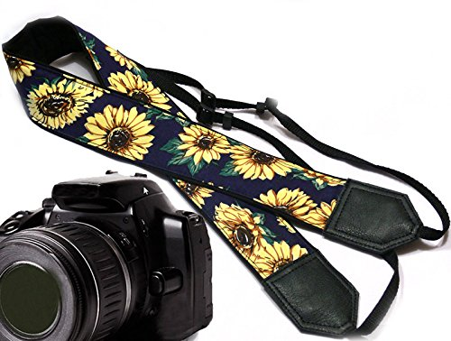 Sunflower design camera strap. Yellow blossoms camera strap. Yellow flowers DSLR / SLR Camera Strap. Durable, light weight and well padded camera strap. code 00003 (Sony Camera Accesories)