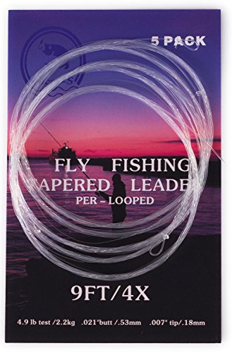 5 Pack- 9' Fly Fishing Tapered Leader with Loop, Size 0X to 7X Available (Fly Fishing Tapered Leader)