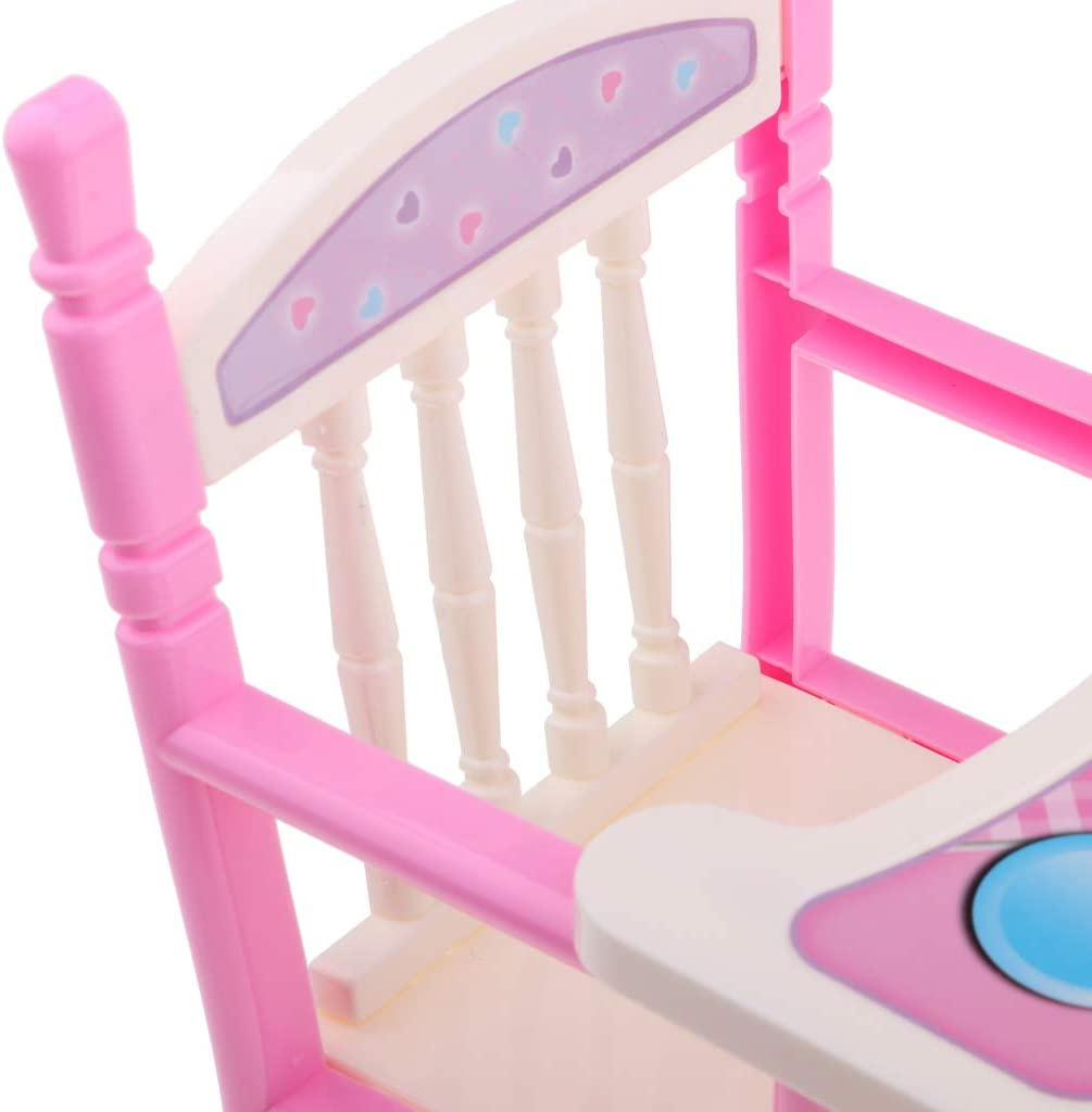 KESOTO 2 Pieces Reborn Doll Furniture Supplies Simulation High Chair Baby Bed Cradle Swing Playset for Baby Doll for MellChan Doll Pink