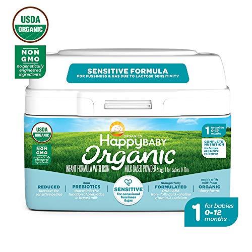 Happy Baby Organic Stage 1 Infant Formula Sensitive, 21 Ounce Organic Formula Dual Prebiotics, Milk Based Powder, Non-GMO (Packaging May Vary) (Best Formula For Constipation Newborn)