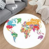 Nalahome Modern Flannel Microfiber Non-Slip Machine Washable Round Area Rug-t Decor World Map Made by Names of the Countries Europe America Africa Asia Graphic Multi area rugs Home Decor-Round 79''