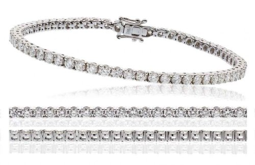4CT Certified G/VS2 Round Brilliant Cut Claw Set Diamond Tennis Bracelet in 18K White Gold