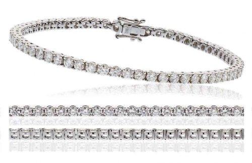 4CT Certified G/VS2 Round Brilliant Cut Claw Set Diamond Tennis Bracelet in 18K White Gold
