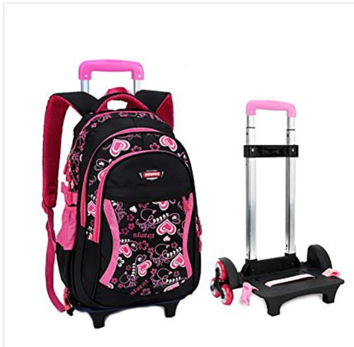 Meetbelify Kids Rolling Backpacks Luggage Six Wheels Trolley School Bags Climbing Stairs For Girls Black