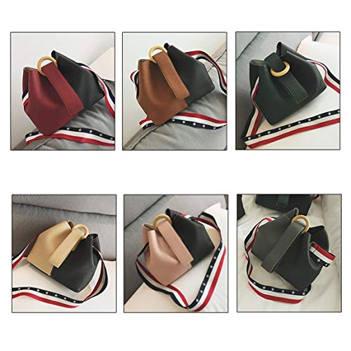 Strap de Bag Bag PU de con marca de Crossbody Ladies hombro Bucket Colorful Fashion bolso de cuero bolso SeniorMar Women diseñador Wide wZt1YBnq