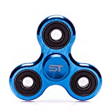 Aluminum Fidget Spinner Toy - High Speed Hybrid Ceramic Bearing - Blue Metal Spinner - At Least 3 Min Spins - Premium EDC ADHD - eBOOK included - SpinTime SpinTime