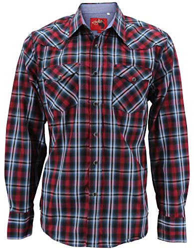 Rodeo Clothing Men's Premium Western Cowboy Pearl Snap Long Sleeve Plaid Shirt (PS400L #426, XL)