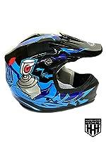 SmartDealsNow DOT Youth & Kids Helmet for Dirtbike ATV Motocross MX Offroad Motorcyle Street bike Flat Matte Black Helmet (Large, Black & Blue) by SmartDealsNow