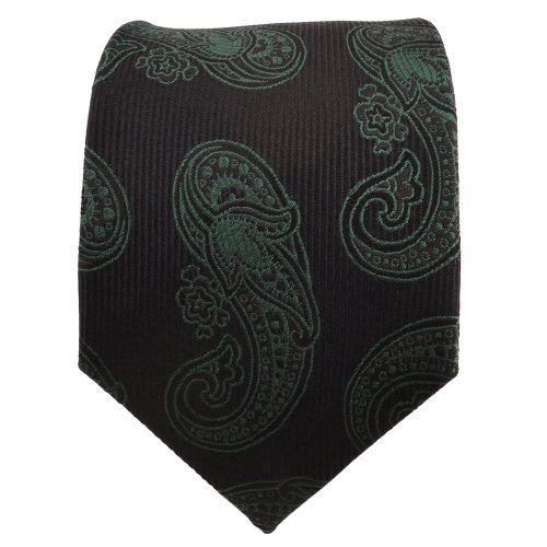 TigerTie Designer cravate en soie vert noir Paisley - cravate en soie