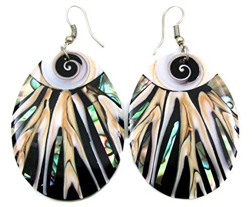 Abalone Earrings with Natural Cone Shell and Shiva Eye Oval Dangle Drop Hook Handmade Women Jewelry DA312-A -