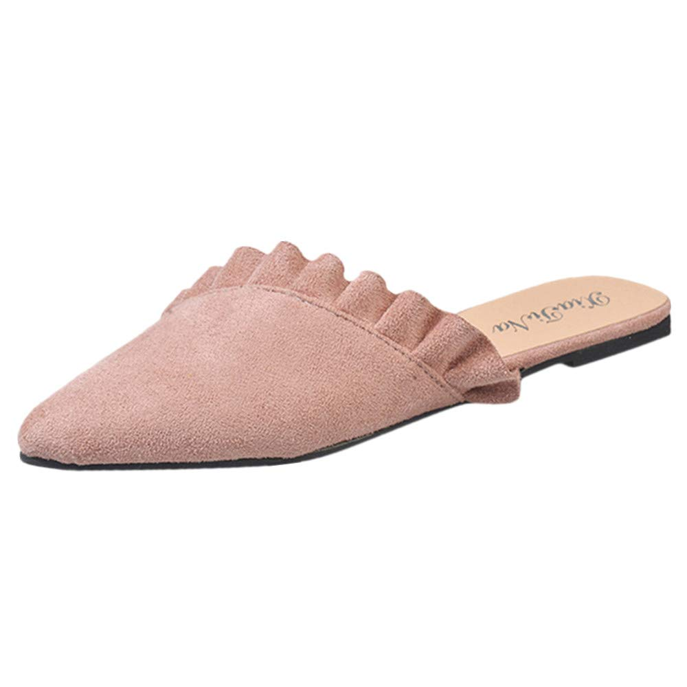 Mule Slides, Womens Backless Slip On Loafers Pointed Toe Slipper Sandals Shoes (Pink, US:5.0)