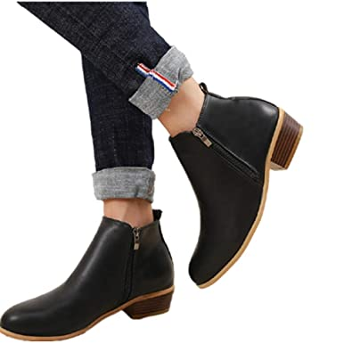 c3db2e356a98 Ankle Boots Women Flat Heeled Winter Block Heel Suede Leather Chelsea  Ladies Chunky Casual Comfortable Zip