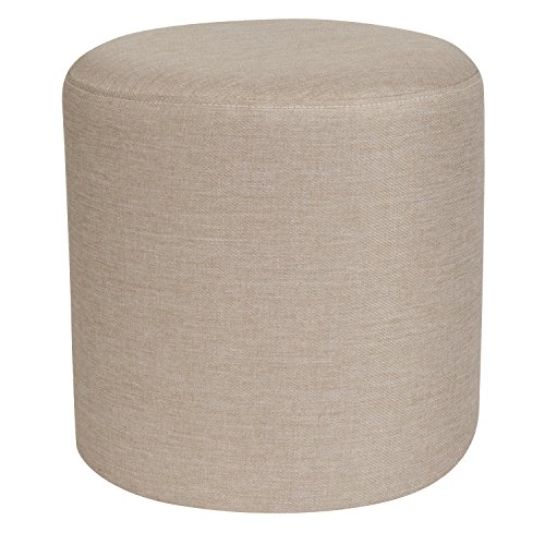 - Flash Furniture Barrington Upholstered Round Ottoman Pouf in Beige Fabric