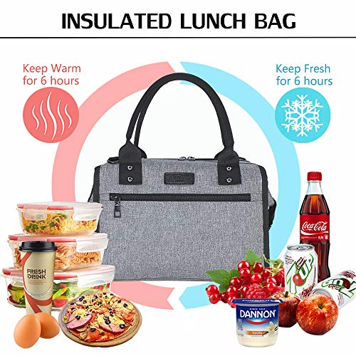 AnikSunny Insulated Lunch Bag for Women Men Reusable Large Lunch Bags Fashionable Lunch Box with Shoulder Strap for Work, School,Picnic