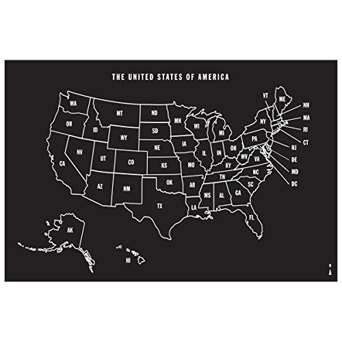 Wallies Peel and Stick US Map Chalkboard Wall Decal, 25-inch x 38-inch