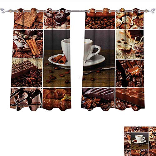 Qinqin-Home Waterproof Window Curtain Brown Coffee and Chocolate Themed Collage Mug Cinnamon Sweet Bars Cocoa Tasty Yummy Snacks Brown White Blackout Draperies for Bedroom (W55 x L45 -Inch 2 Panels)