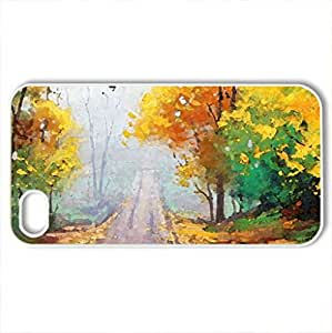 Road through the Mist - Case Cover for iPhone 4 and 4s (Forests Series, Watercolor style, White)