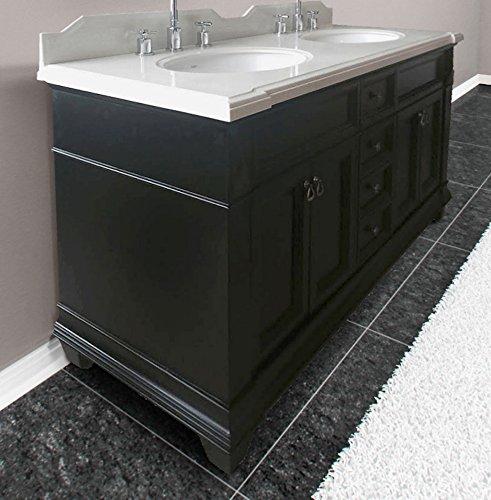 Ancona Imperial Double Sink Bath Vanity With Quartz Countertop And Black Espresso Finish 60