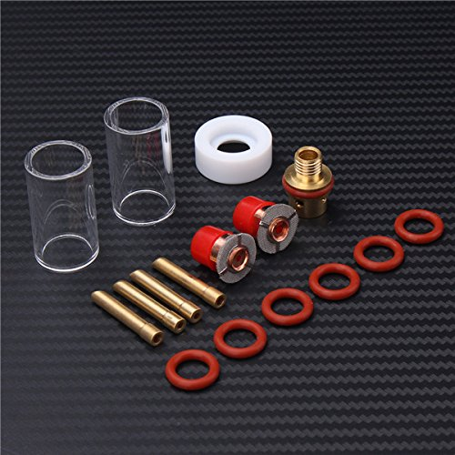 Welding Torch Kit,Yingte 16pcs Stubby Gas Lens Glass Nozzle Cup Set TIG Welding Torch Kit For WP-9/20/25 (Stubby Tank)