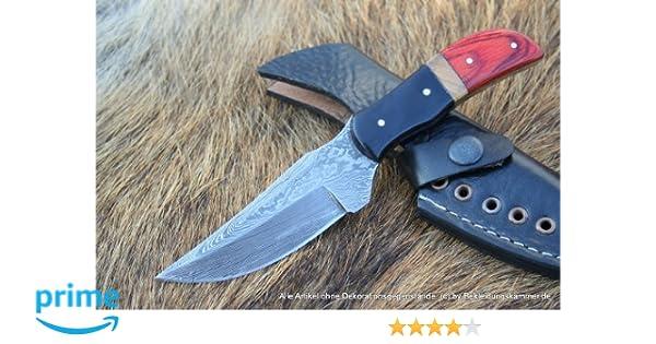 Acero de Damasco Cuchillo Damasco Cuchillo con Spear Point Hoja y piel Holster