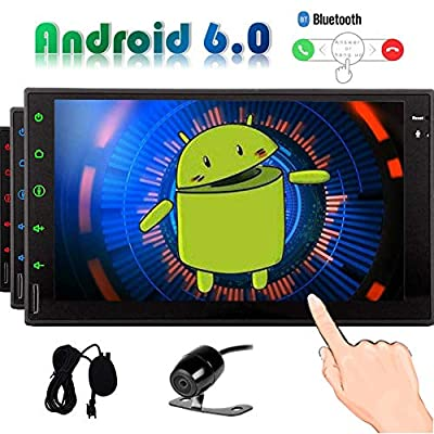 7 inch Android 6.0 Car Radio Quad Core Double Din Head Unit with Autoradio Bluetooth Stereo System GPS Navigation HD Touchscreen Tablet Support AUX 4G WiFi CAM-in Phone Link USB/SD with Backup Ca