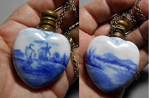 Victorian Porcelain Delft Blue Heart Perfume Bottle Chatelaine, Hand Painted 2 Sided Scenes , Windmill, Sail Boat, Mountains 26