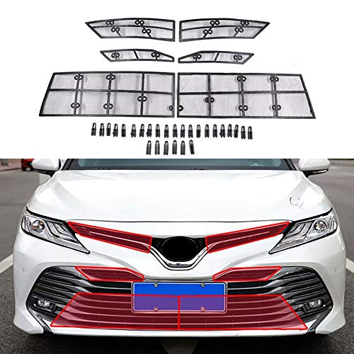 kadore for Toyota Camry Hybrid 2018-2019 Front Center Radiator Grille Insect Net Protector ABS+Steel Wire 6-pc: