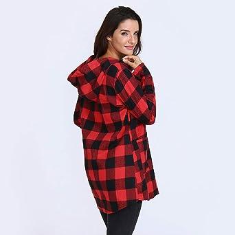 Darringls Abrigo de Invierno Mujer, Chaqueta Impresión a Cuadros Chaqueta a Cuadros Bolsillo Camiseta botón: Amazon.es: Ropa y accesorios