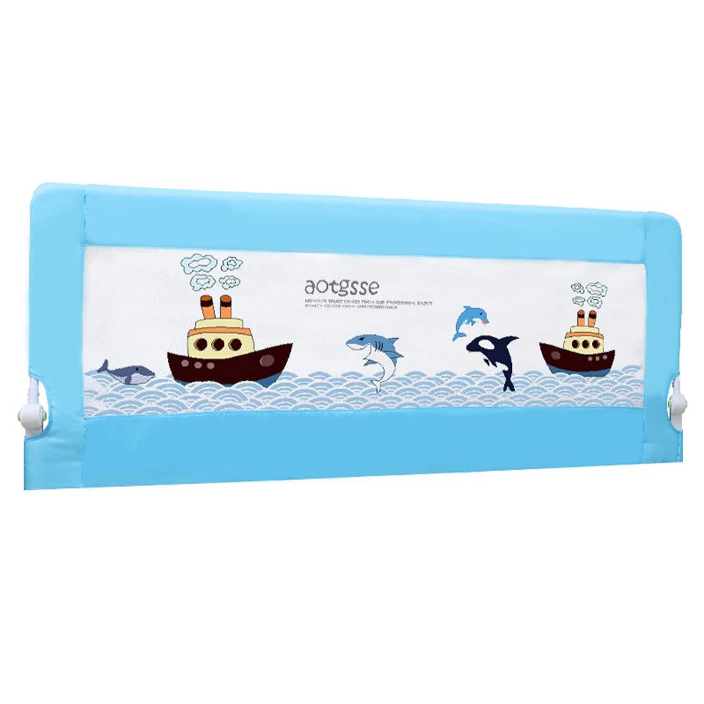 ベッドフェンス, 幼児のための折りたたみ式ポータブルベッドレール、赤ちゃん/子供向けの安定した安全ベットガレレール、3色オプション - 68cm高 (色 : 青, サイズ さいず : 180cm) 180cm 青 B07K6P7L9S