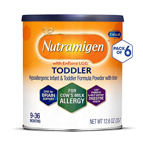 Enfamil Nutramigen Hypoallergenic Colic Toddler Formula Lactose Free Milk Powder, 12.6 ounce (Pack of 6) - Omega 3 DHA, LGG Probiotics, Iron, Immune Support