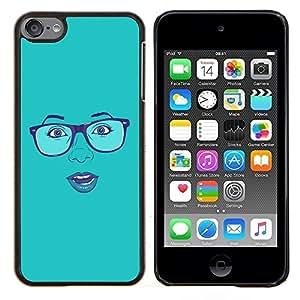 "For Apple iPod Touch 6 6th Touch6 , S-type Cara atractiva Gafas Labios azules de la mujer"" - Arte & diseño plástico duro Fundas Cover Cubre Hard Case Cover"