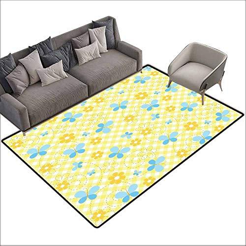 Print Floor Mats Bedroom Carpet Checkered,Kids Pattern with Daisy Flower Figures and Cute Butterflies,Yellow Baby Blue Light Blue 80