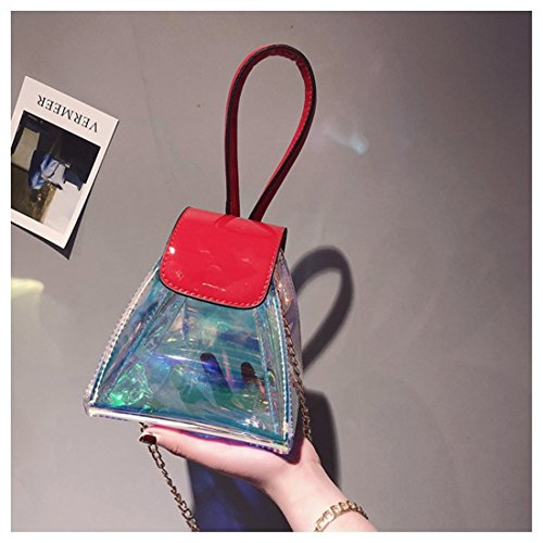 Cross Lantern Body Holographic Ababalaya Bag Transparent Chains Laser with Red Bag Shoulder qaRtY